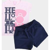Conjunto Infantil Hello Kitty Lettering Laço Feminino - Feminino-Rosa+Marinho