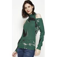 Blusa Canelada Com Ombros Vazados- Verde & Preta- Foforum