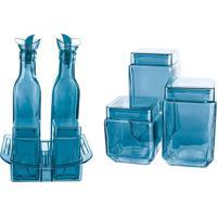 Conjunto Galheteiro Em Vidro Azul 8 Peças Euro Home