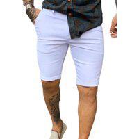 Bermuda Masculina Alfaiataria Branca Skinny - Zip Off Branco