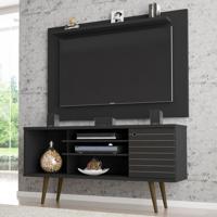 Rack Com Painel Para Tv Até 50 Polegadas Maine Preto Fosco - Pnr Móveis
