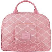 Bolsa De Viagem Dobrável- Rosa & Branca- 35X41X16Cm