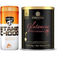 Kit 100% Glutamina 300G - Essential + Vitamina C 1000 100 Tabs - Unissex