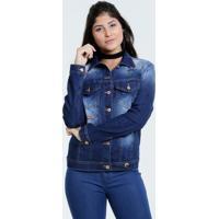 Jaqueta Feminina Jeans Estampa Divertida Marisa