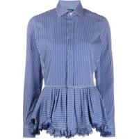 Polo Ralph Lauren Camisa Com Listras E Babados Na Barra - Azul