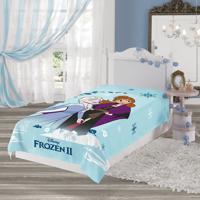 Manta Fleece Infantil Solteiro Lepper Frozen Azul Claro