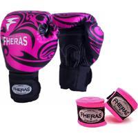 Kit Boxe Muay Thai Fheras New Top Luva + Bandagem Tribal Rosa 003