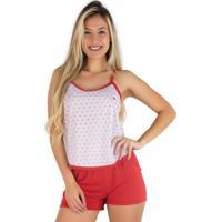 Pijama Mvb Modas Adulto Blusinha Alça Short Curto Vermelho