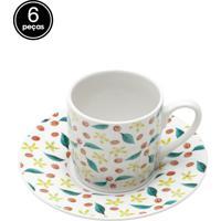 Conjunto 6Pçs Xícaras De Porcelana Para Café Com Pires Grains 90Ml Bon Gourmet