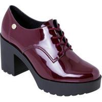 Sapato Moleca Vinho Em Sintético Verniz