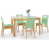 Conjunto De Mesa De Jantar Com 4 Cadeiras Tucupi 120Cm - Acabamento Stain Natural E Verde Sálvia