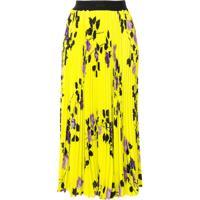 Msgm Saia Midi Amarela Com Estampa Floral - Amarelo