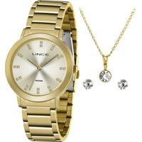Relógio Lince Feminino Dourado Lrgh142L Ky29C1Kx Com Corrente, Pingente E Par De Brincos