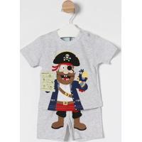 Pijama Pirata- Cinza Claro & Vermelhokyly