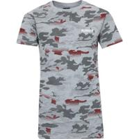 Camiseta Kings Print Camuflada - Infantil - Cinza