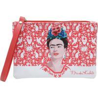 Carteira Frida Kahlo Red Birds And Flowers Fundo Branco 18 X 12 Cm