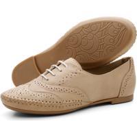 Sapato Oxford Casual Conforto Em Couro 15360 Areia