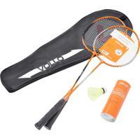 Kit Badminton Com 2 Raquetes E 3 Petecas De Nylon - Vollo Vb002