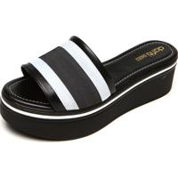 Tamanco Dafiti Shoes Tiras Preto