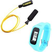 Kit Corda De Pular Em Aço Revestido Amarela Pretorian + Relógio Pedômetro Azul Liveup Ls3348A - Unissex