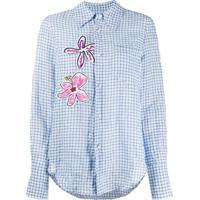 Mira Mikati Camisa Xadrez Com Patch De Flor - Azul