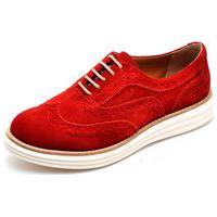 Sapato Oxford Q&A 300 Couro Camurça Vermelha