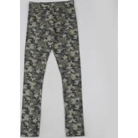 Calça Legging Juvenil Estampada Camuflada Com Recorte Verde Militar