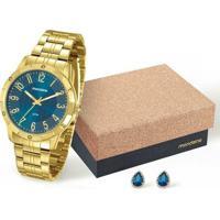Kit Relógio Mondaine Feminino - 94774Lpmkde4K2 - Feminino-Dourado