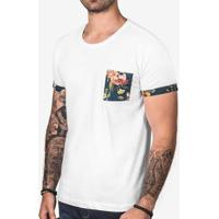 Camiseta Hermoso Compadre Detalhe Estampado Mascul - Masculino-Branco