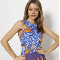 Body Abstrato Cruzado- Laranja & Azulspezzato
