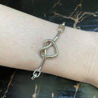 Bracelete De Coração Com Verniz Italiano Especial Prata