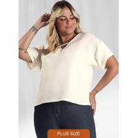Blusa Plus Size Genebra Secret Glam Bege