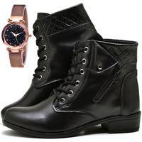 Bota Coturno Cano Curto Fashion Com Relógio Gold Dubuy 201El Preto