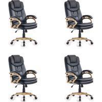 Conjunto Com 4 Cadeiras De Escritório Giratórias Clark Preto