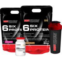Kit 2X 6 Six Protein 2Kg (1 Chocolate 1 Morango) 100% Creatine 100G Coqueteleira –Bodybuilders