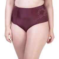 Calcinha Hot Pant Lateral Dupla Renda Vinho - 534.383 Marcyn Lingerie Alta Vinho - Vermelho - Feminino - Dafiti
