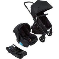 Carrinho De Bebê Com Bebê Conforto Cosco - Travel System Poppy Trio 0 A 15Kg - Unissex-Preto