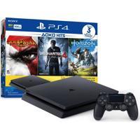 Console Sony Playstation 4 Slim 500Gb + 3 Jogos Preto