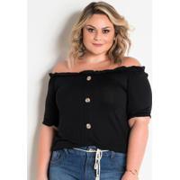 Blusa Ciganinha Com Botões Preta Plus Size