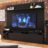 Rack Com Painel Para Tv Até 65 Polegadas 2 Portas Preto 2022 - Quiditá Móveis