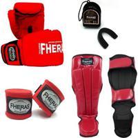 Kit Infantil Fheras Luva De Boxe / Muay Thai Tradicional 10 Oz + Bandagem+Bucal+Caneleira Anatômica - Unissex
