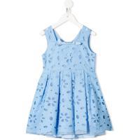 Mi Mi Sol Vestido Sem Manga Com Ilhós Floral - Azul