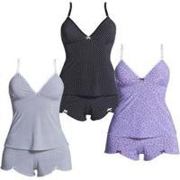 Kit Com 3 Baby Dolls Polo Match Feminino - Feminino