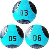 Kit 3 Medicine Ball Liveup Pro 5 E 6 Kg Bola De Peso Treino Funcional Lp8112 Azul