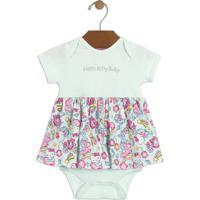 Body Vestido Em Suedine Hello Kitty®- Azul Claro & Rosa Hello Kitty