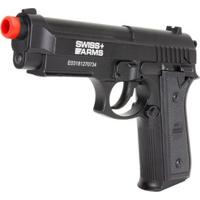 Pistola De Pressão Swiss Arms Co2 Pt92 Slide Fixo Full Metal 361 Fps 4.5Mm - Unissex-Preto