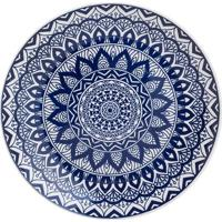 Prato Raso Mandala- Azul & Branco- Ø26Cm- Lyorlyor