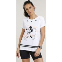 Blusa Feminina Esportiva Mickey Manga Curta Decote Redondo Branca