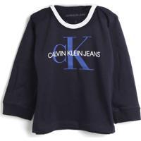 Blusa Calvin Klein Kids Menina Escrita Azul-Marinho