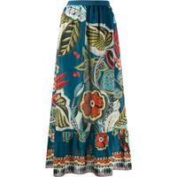 Redvalentino Floral Print Skirt - Azul